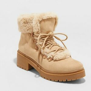 Women's Betsy Faux Fur Hiking Boots - A New Day Tan 7.5
