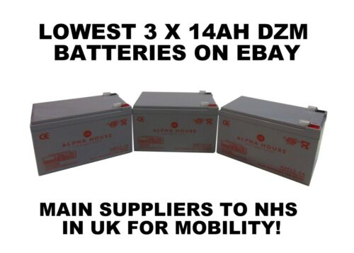 12V 14ah 3 x 6-DZM-12 - Re-chargeable ELECTRIC BIKE BATTERIES equiv 12Ah