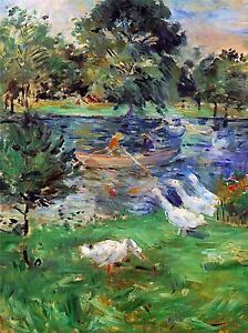 BERTHE-MORISOT-GIRLS-IN-A-BOAT-WITH-GEESE-OLD-MASTER-ART-PAINTING-PRINT-371OMA