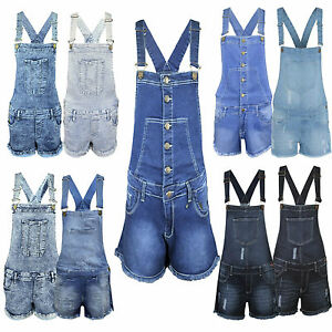 17c6ac645f2a Image is loading Ladies-Womens-Denim-Dungaree-New-Dungarees -Playsuit-Jumpsuit-