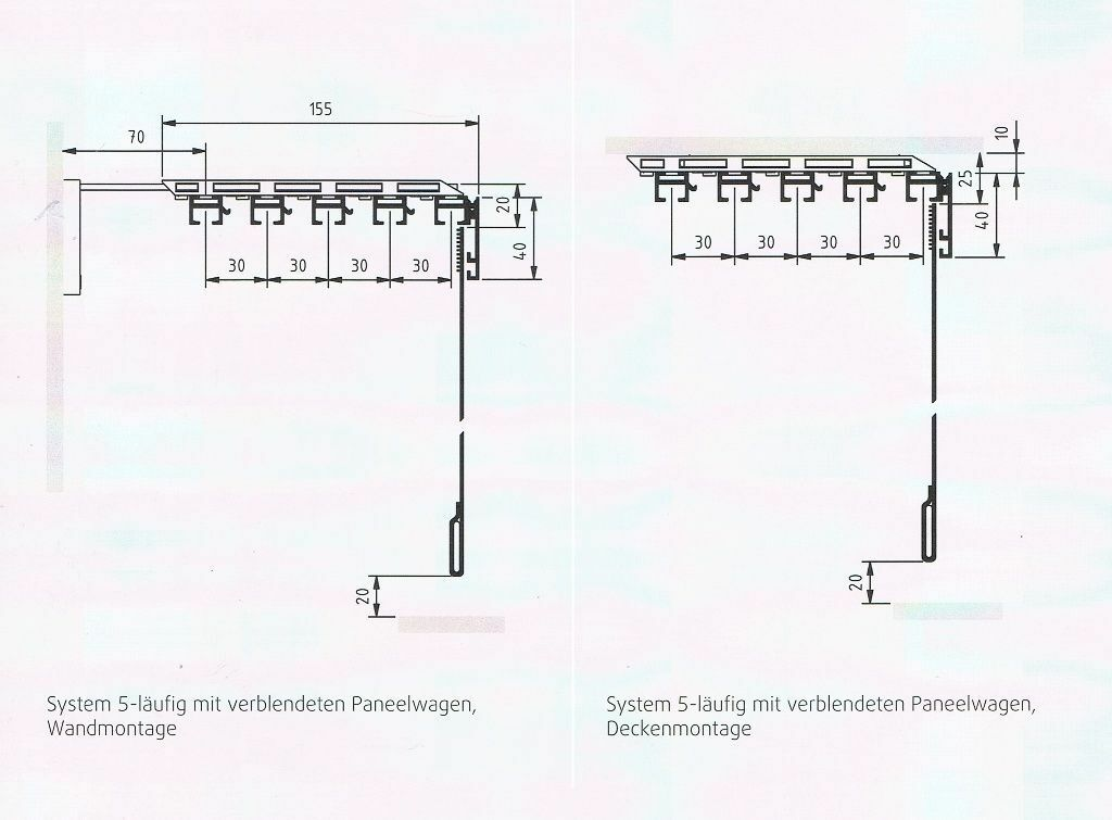 Flächenvorhang style style style Komplettsystem 5-läufig inkl. Paneelwagen & Saumstab 11a329