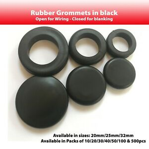 Black Rubber Grommets 20mm 32mm Open or Closed. 25mm