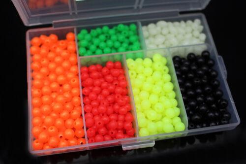 850pcs//box Plastic Fishing Beads Round/&Oval Luminous Sea Floating Rigs Lure Bait