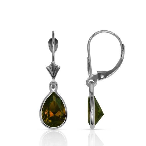 2 Ct 14K or Blanc Lunette Set Poire Alexandrite Leverback Dangle Earrings