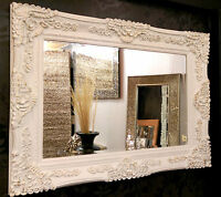 Antique White/ Gold Ornate Vintage French Bevelled Wall Mirror 117x88cm New