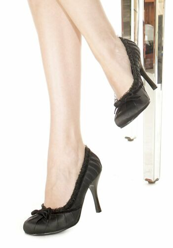 Ellie Shoes Women/'s 4 Inch Heel Pleated Satin Pump With Lace Trim And Velvet Bow