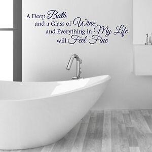 Detalles de Un gran baño y copa de vino Cuarto de Baño palabras y frases  Vinilo calcomanías de pared- ver título original