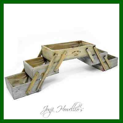 Rustic Wooden Folding PLANTER With 5 Compartments GRAND JARDIN  HERBS  Flowers