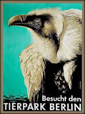 Lemur Tierpark Berlin Zoo Germany Vintage German Travel Advertisement Poster