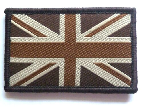 BRITISH UNION JACK CLOTH BADGE retro tan brown velcro patch jacket bag combats