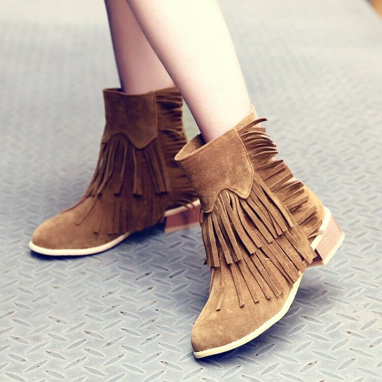 Fashion Ladies Ankle Boots Fringe Tassels High Block Heels Pull On Casual shoes