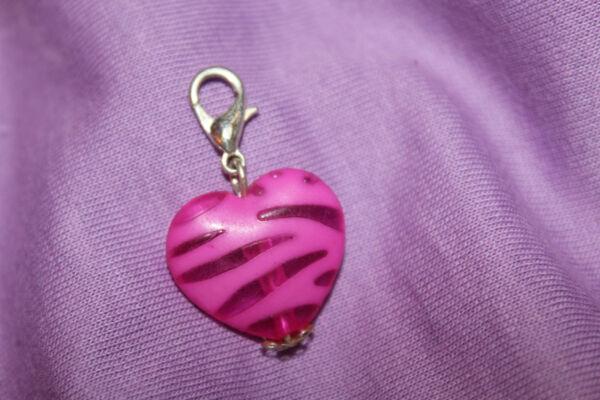 1 Anhänger Für Bettelarmband Mit Karabiner - Transparent - Herz Pink - Charm