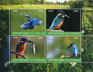 Chad-2018-CTO-coraciformi-Kingfisher-4v-M-S-MARINS-Pecheurs-birds-stamps