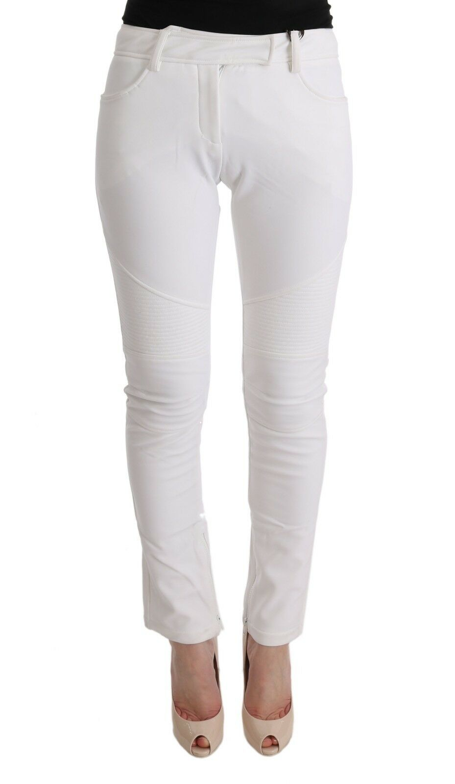 NEW  ERMANNO SCERVINO Pants White Cotton Slim Fit Casual s. IT40   US6   S