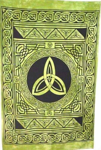 Celtic Sign Wall Hanging Green Color Cotton Fabric Small Tapestry Poster Hippie