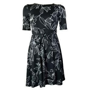 Ex-DEBENHAMS-Petite-Noir-Floral-Feuille-Imprime-Robe-Patineuse-Tailles-8-18