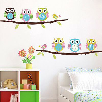 Diy Removable Owl Birds Branch Vinyl Kids Home Decor Mural Wall Stickers Dec