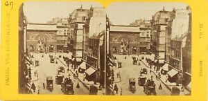 FRANCE-Paris-Instantane-La-Porte-Saint-Martin-Photo-Stereo-Albumine-ca-1865