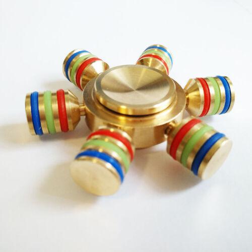 Sei ALATA EDC luminoso a mano Spinner ottone CUSCINETTO Fidget Toys stress alleviare