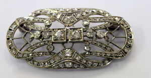 Art-Deco-Style-Pin-Brooch-in-Sterling-Silver-Approx-3-00-Ct-Genuine-Diamonds