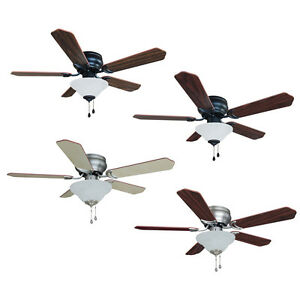 42 Inch Flush Mount Hugger Ceiling Fan W Light Kit Oil Rubbedbronze Satin Nickel Ebay