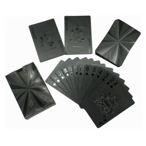 54 Waterproof Black Playing Cards Collection Plastic Magic Decks Card Table Game