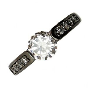 Black Gold Filled Ring With White Cubic Zirconia Stones Various Sizes
