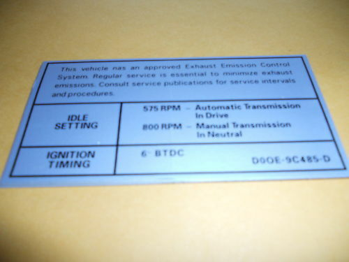 1970 FORD TORINO RANCHERO 302 ENGINE EMISSIONS DECAL EA