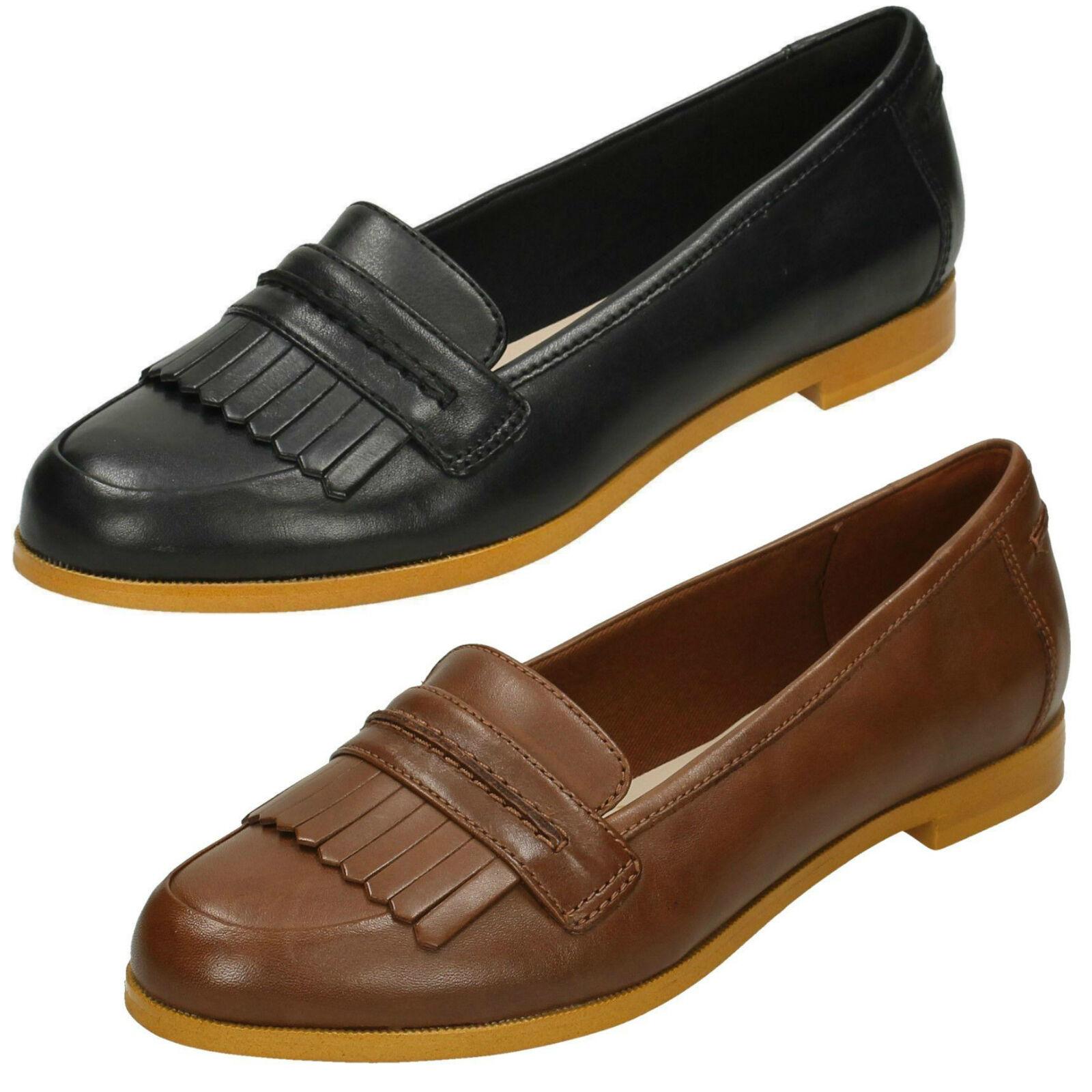 Zapatos de mujer baratos zapatos de mujer Descuento por tiempo limitado Ladies Clarks Andora Crush Black Or Tan Leather Smart Slip On Loafer Style Shoes