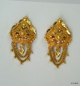 Image Is Loading Traditional Design 20k Gold Earrings Handmade Jewelry Rajasthan