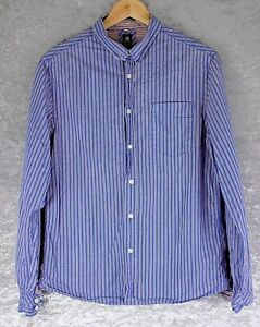 White-Stuff-Ajustado-para-Hombre-Camisa-Azul-Tamano-M-Mediano-100-algodon