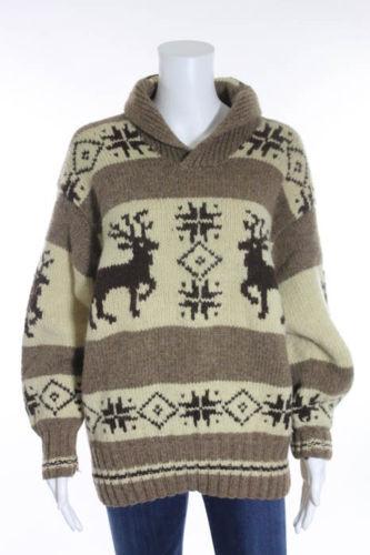 RALPH LAUREN COUNTRY braun Ivory Wool Elk Sweater Sz M