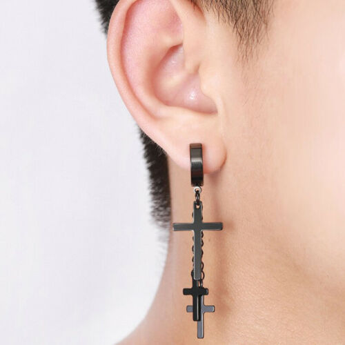 Punk Stainless Steel Tassels Ear Clip Cross Earring Body Piercing Jewelry xj