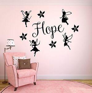 Mode 2019 Personnalisé Fairys Wall Art Sticker-chambre à Coucher Filles-ajouter Tout Nom!-afficher Le Titre D'origine