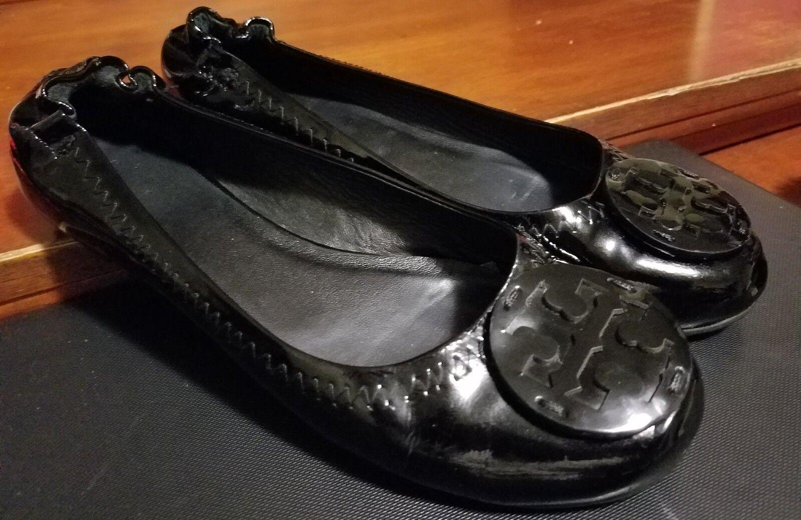 Tory Burch BIG Nero Patent Leather Ballerina Flats Size 7 BIG Burch CREST LOGO NICE 7bbdd0