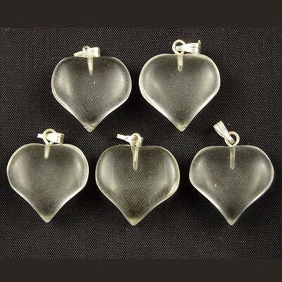 5 CLEAR QUARTZ Crystal Puff HEART Charms PENDANTS 18mm