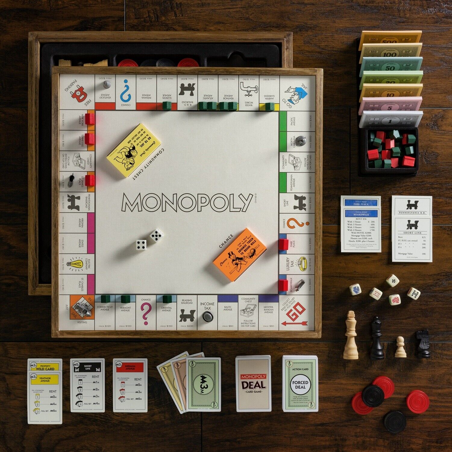 Winning Solutions Monopoly Deluxe Vintage 5-in-1 Edition Wooden Board Game