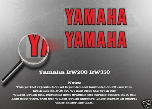 YAMAHA BW200 BW350 FORK DECALS GRAPHICS LIKE NOS