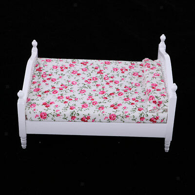 2pcs Double Bed /& Mattress 1//12 Dollhouse Miniature Furniture Decors