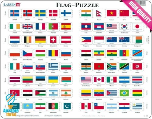 Larsen L2 Flag-Puzzle English Edition Jigsaw Puzzle with 80 Pieces