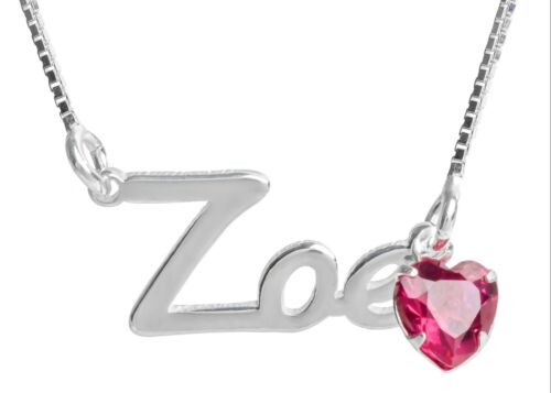 Birthstone Heart Gem Necklace Pendant Jewellery Gift Personalised Silver Name