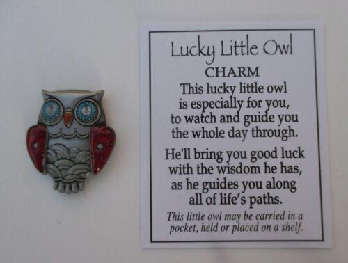 M Red LUCKY LITTLE OWL POCKET TOKEN CHARM good luck wisdom graduate ganz guide