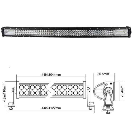 7D+Tri-Row 42/'/' 540W LED Work Light Bar Spot Flood for Jeep Truck Boat SUV EU