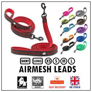 Dog Leads Truelove AirMesh Reflective Short & Long Leash Red 11 Colours XS S M L