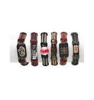 6 Leather Bracelets - Fashion Accessories - Us Seller - Bulk Wholesale Lot -