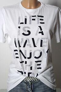 s-Oliver-T-Shirt-Gr-L-164-passt-mit-S-weiss-Damen-Kurzarm-T-Shirt-mit-Aufschrift