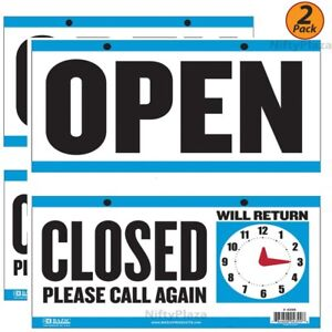 2-Pack-OPEN-Sign-CLOSED-Sign-with-Clock-on-the-Back-6-034-x11-5-034-Durable-Plastic