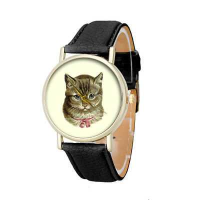 Cat Pattern Dial Faux Leather Band Casual Women Watch Quartz Analog Wrist Watch