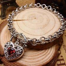 New 14K White Gold Filled Ruby Filigree Heart Charm Belcher Chain Bracelet
