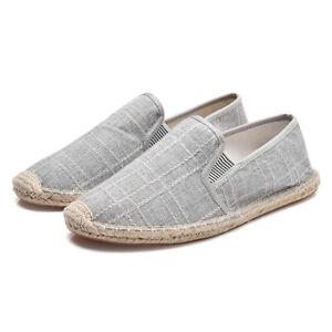 Details zu Sommer Herren Hanf Leinwand Fischer Schuhe Loafers Flach Tuch Fahrende Schuhe